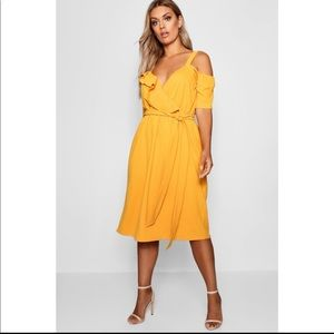 Boohoo Yellow Plus Plunge Ruffle Belted Midi Dress
